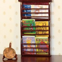 SaLe!!! Dollhouse Miniature Wall Shelf Filled with Children's Books
