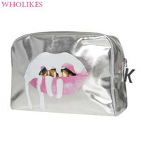 2017 Fashion 3D Print Red Mouth Pattern Cute Cosmetics Makeup Bag Beautician Cosmetic Storage  Cosmetic Bag Travel Organizer Bag