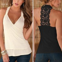 Women's V-Neck Sleeveless Backless Lace Cotton Vest T Shirt Tops Blouse