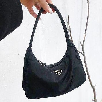 Prada Bag Nylon Retro Hobo-Underarm Bag-Leisure-Crescent Black Crossbody Bag