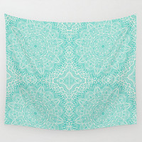 Wall Tapestry Mandala Teal  Pattern Design Aquamarine Turquoise Mint Green Blue Boho Bohemian Shabby Chic Dorm Room Home Decor