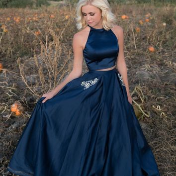 Two Piece Halter Navy Blue Prom Dress with Two Pockets