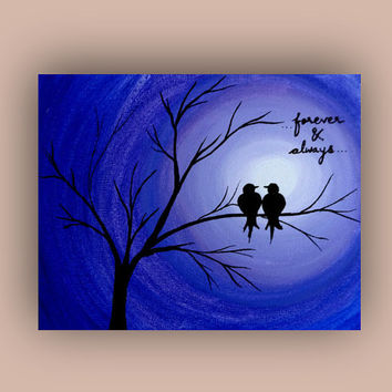 Valentine card Love birds painting print Acrylic painting Valentine greeting card paper Handmade card Lovers gift Love card Anniversary card