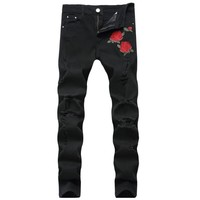 BONJEAN Mens Black Blue Flower Patches Skinny Jeans Embroidered Ripped Stretch Denim Hole Pants Size 42
