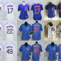 2016 New Womens Chicago Cubs 17 Kris Bryant 44 Anthony Rizzo 49 Jake Arrieta 22 Jason Heyward Baseball Jerseys Free Drop Shipping