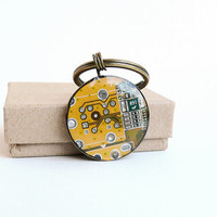 Circuit board geekery keychain Yellow - recycled computer bcy578 ready to ship