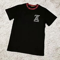 Louis Vuitton LV Summer Fashion Women Men Casual Print Round Collar T-Shirt Top