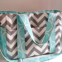 Custom Made Large Diaper bag Made of Chevron Fabric / You Pick Colors