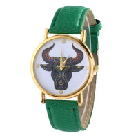 Women's Green Creative Fashion Watch Faux Leather Band Analog Quartz Watch Cattle Pattern Wrist Watch