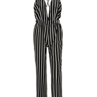 Casual X-Back Spaghetti Strap Vertical Striped Straight Jumpsuit