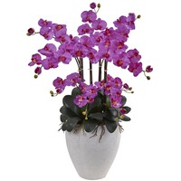 Artificial Flowers -Phalaenopsis Orchid With White Planter Arrangement
