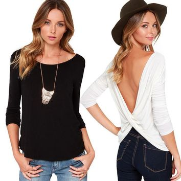 Slim Sexy Backless Ruffle T-shirts Bottoming Shirt [10199505607]
