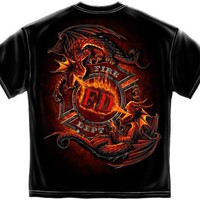 NEW T-SHIRT FIREFIGHTER DRAGON FREE SHIPPING SIZE 2XL