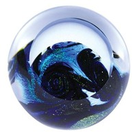 Earth Blue Planet Hand Blown Glass Paperweight 3H