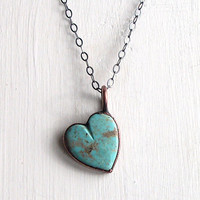 Turquoise Necklace Heart Valentine December Birthstone Necklace Gemstone Necklace Turquoise Pendant Robins Egg Blue Rough Stone