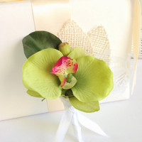 Spring & Summer Boutonniere, Grooms, Country Garden Wedding,  Burlap, Green Orchid,  Raspberry, Rustic