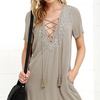Friendly Fronds Khaki Lace-Up Dress