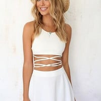 White Cross Open Back Skater Dress