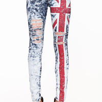 UNION JACK SHREDDED JEANS