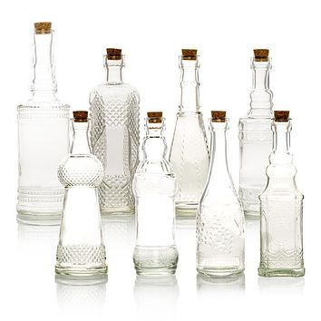 8pc Clear Vintage Glass Wedding Bottle Set, Assorted Wedding Table and Centerpiece Display
