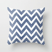 blue chevron Throw Pillow by her art