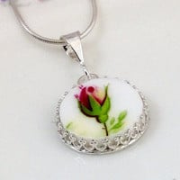 Broken China Jewelry,Pendant Necklace, Old Country Roses Necklace, Sterling Silver Necklace