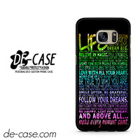 Life Quote Sparkle Rainbow DEAL-6484 Samsung Phonecase Cover For Samsung Galaxy S7 / S7 Edge