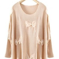 Beige Sweet Round Neck Sweater with Bow  S004671