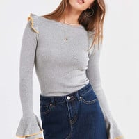Cooperative Sofia Tulip-Sleeve Sweater | Urban Outfitters