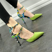 Brand Design Sapato Sexy Women Ladies High Heels Evening Party Shoes Women Pumps Pointed Toe Party Sweet Graffiti Zapatos Mujer