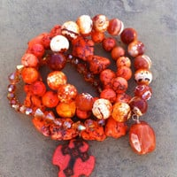 HOT TANGERINE stack of bracelets in turquoise, fire agate, swarovski crystals