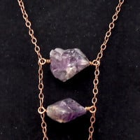 Raw Amethyst Ladder Necklace Copper Chain Chunky Bead Necklace Fall Necklace Boho Necklace FREE SHIPPING
