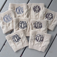 Monogrammed Cable Knit Boot Cuff
