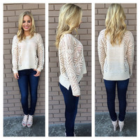 Oatmeal Cut Out Light Knit Sweater