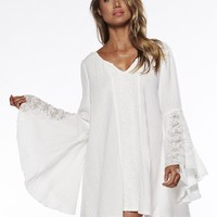[13209] Women Vintage Hippie Boho Bell Sleeves Gypsy Festival Holiday Lace Mini Dress