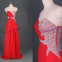 2014 long red chiffon prom dresses with sequins,unique sweetheart gowns for holiday party,cheap beaded homecoming dress hot.