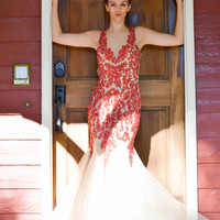 Jovani 36508 In Stock SZ 4 Red Jeweled Nude Mermaid Pageant Prom Dress