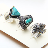 Hot Vintage Ring Set Punk Silver Gold Plated Stone Rings For Women/Men Finger Ring 3 PCS Ring Set Best Selling 2016New Fashion