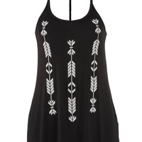 embroidered tank with high-low hem