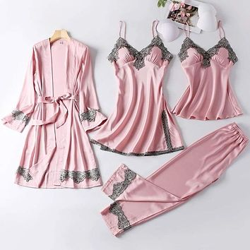 4PCS Satin Sleepwear Lady Pajamas Suit Nighty&Robe Suit Sexy Intimate Lingerie Casual Bridal Wedding Gift Homewear Nightgown|