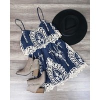 Final Sale - A Hint of Vintage Lace Dress in Navy and Cream
