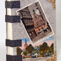 Handmade Journal with Exposed Binding, Tea Stained Paper and Vintage Postcards OOAK