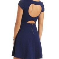 Geo-Textured Heart Cut-Out Skater Dress - Medieval Blue