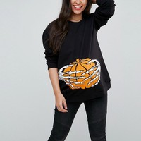 ASOS Maternity TALL Halloween Skeleton Hand Sweatshirt at asos.com