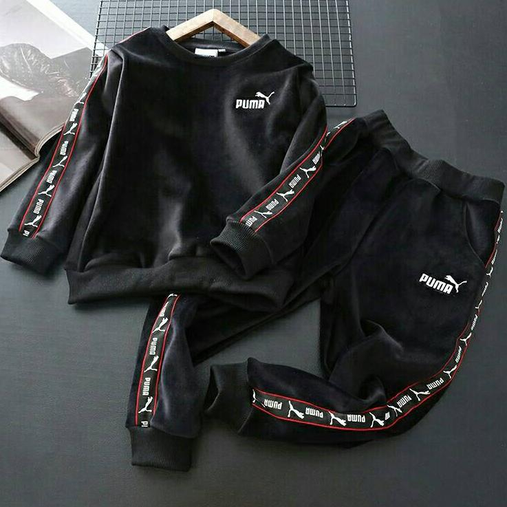 Image of PUMA Girls Boys Children Baby Toddler Kids Child Fashion Casual Top Sweater Pullover Pants Trousers Two Piece Set