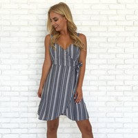 On the Dock Stripe Wrap Dress