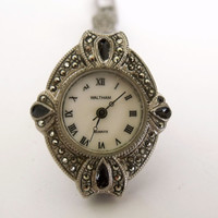 Vintage retro 80s WALTHAM ladies watch Marcasites Works quartz rhinestones