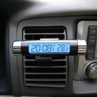 2 In 1 LCD Display Thermometer Car Electronic Clock Type Of Air Outlet Clamp