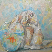 """Original Impasto Cat Still Life """"Catch you!"""" Oil Painting Wall Decor Custom Pet Fish Personalized gift Contemporary Art Photo to Painting"""