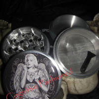 Marilyn Monroe Angel Wings and Tattoos 4 Piece Grinder Herb Spice Aircraft Grade Aluminum C.N.C